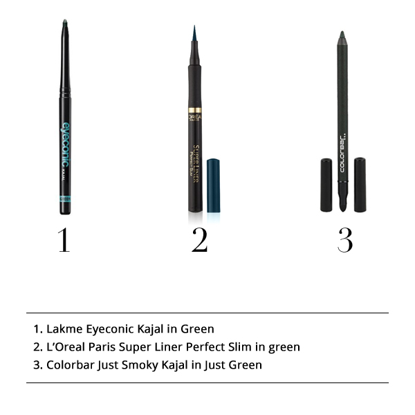 Lakme Eyeconic Kajal in Green,L'Oreal Paris Super Liner Perfect Slim in Green, Colorbar Just Smoky Kajal in Just Green, Lakme Eyeconic Kajal, L'Oreal Paris Liner, Colorbar Smoky Kajal
